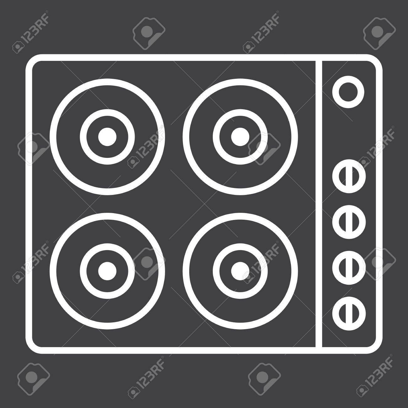 Elektrische Heißplatte Linie Symbol, Elektroherd Und Gerät ...