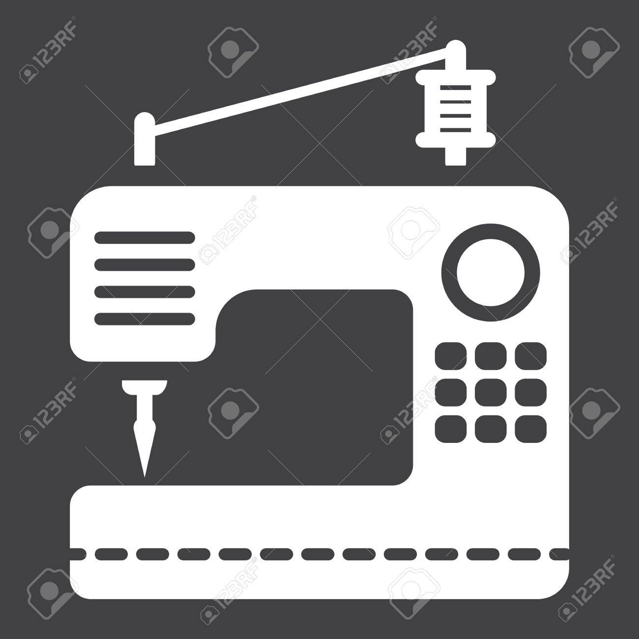 Máquina de coser icono sólido, hogar y la aplicación, gráficos vectoriales,  un patrón de glifo sobre un fondo negro, eps 10.