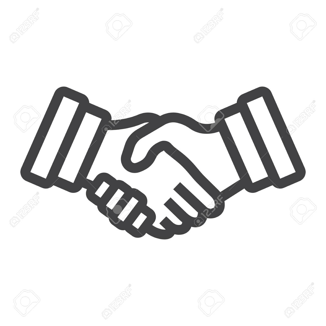 Geschäftshändedrucklinie Ikone, Vertrag Und Vereinbarung ...