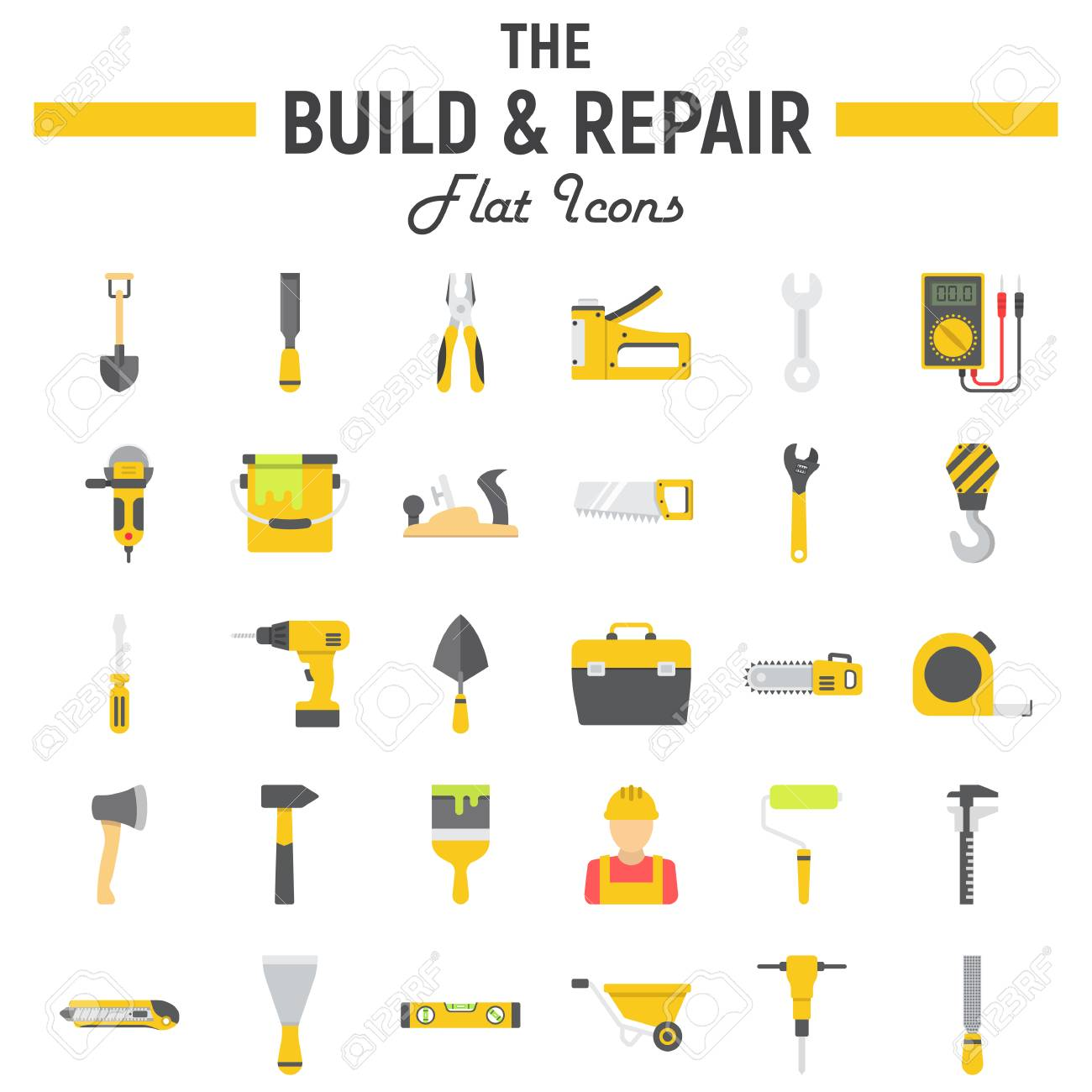 Build And Repair Flat Icon Set Construction Symbols Collection