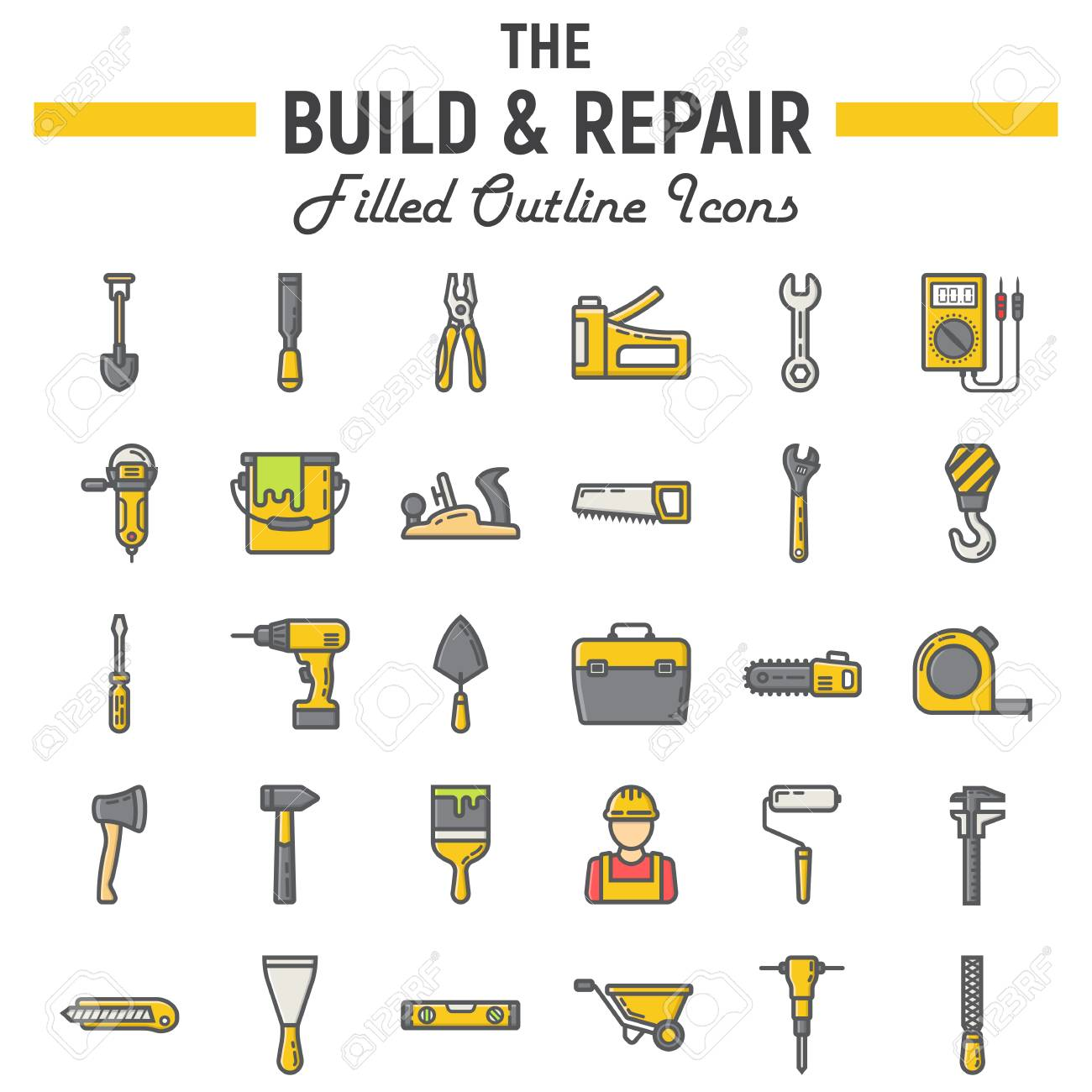 Build And Repair Filled Outline Icon Set Construction Symbols