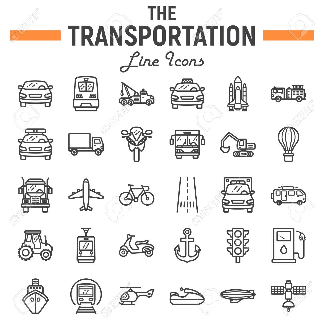 Transportation line icon set, transport symbols collection, vehicle vector sketches, logo illustrations, navigation signs linear pictograms package isolated on white background, eps 10. - 87051378