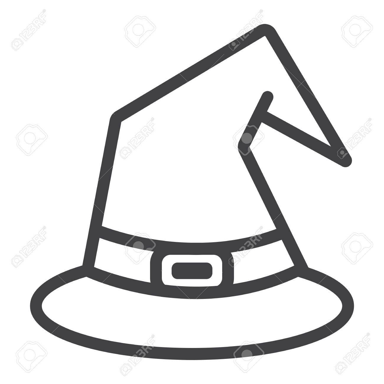 Witch Hat Line Icon Halloween And Scary Wizard Hat Sign Vector Royalty Free Cliparts Vectors And Stock Illustration Image 87275431