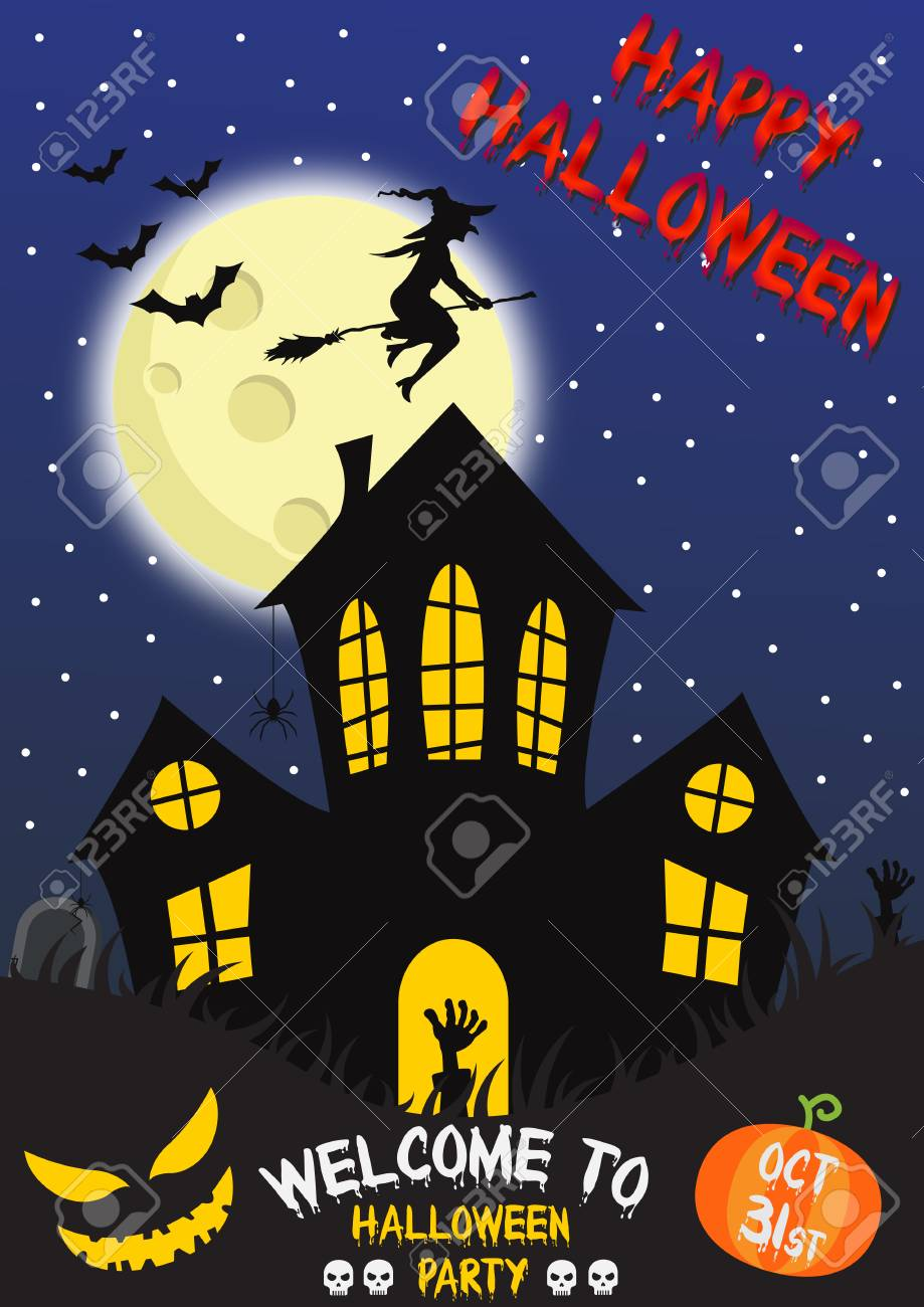 Happy Halloween Poster With Scary Party Design Template On Spooky ...