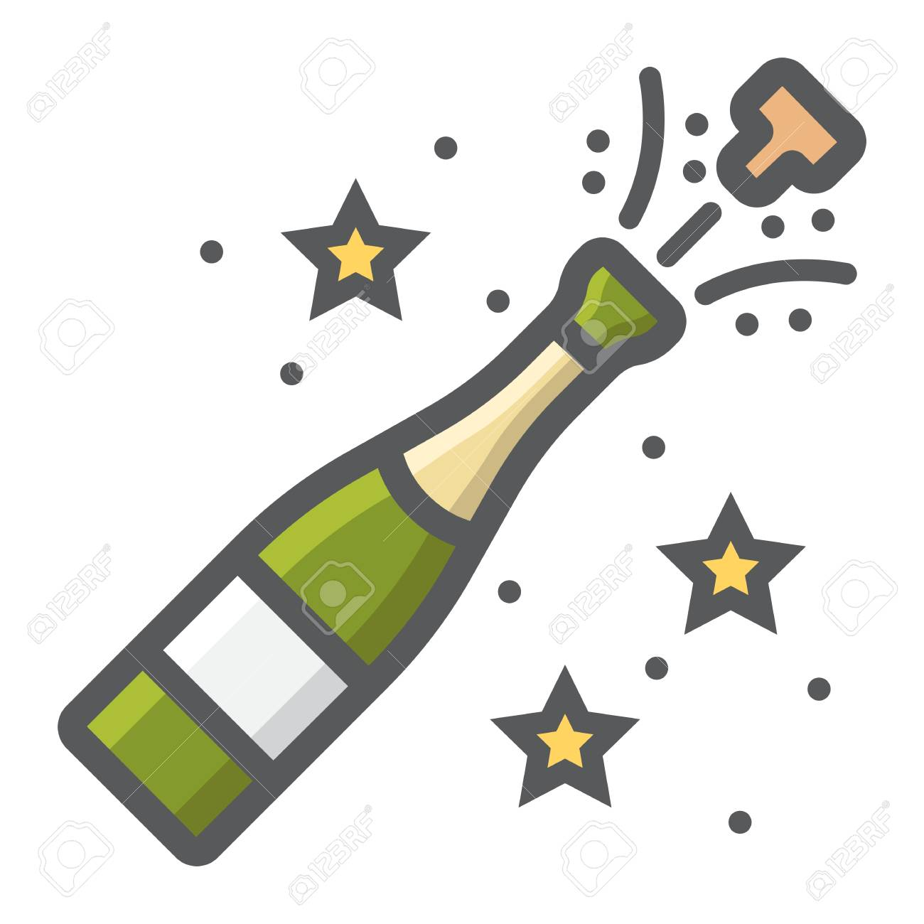 champagne bottle pop filled outline icon new year and christmas xmas sign vector graphics