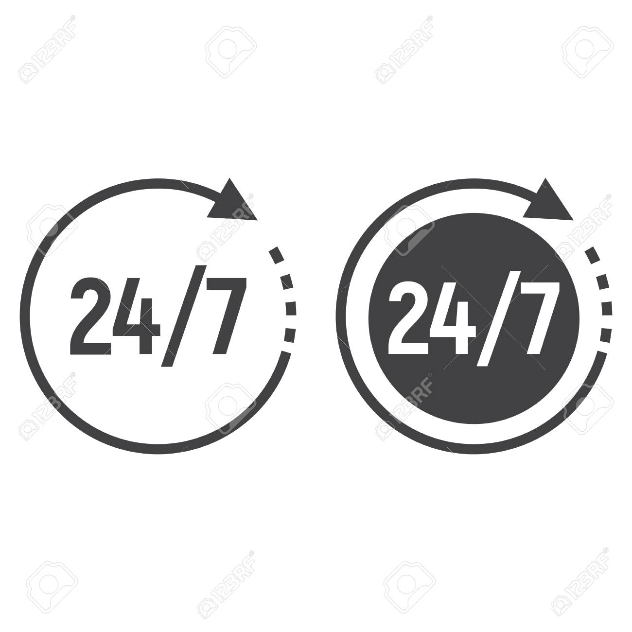 Passage Timeline And Glyph Icon 24 Hour Assistance Round The Clock Sign
