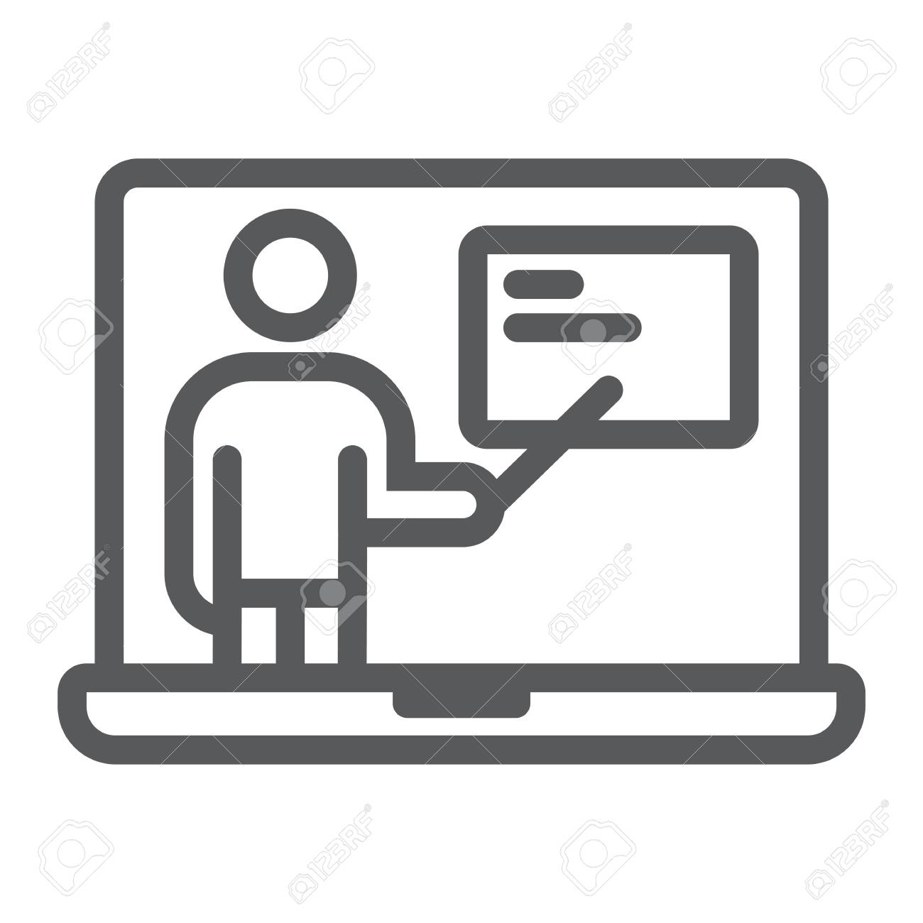 Distance Education Line Icon E Learning And Education Online Royalty Free Cliparts Vectors And Stock Illustration Image 96168874