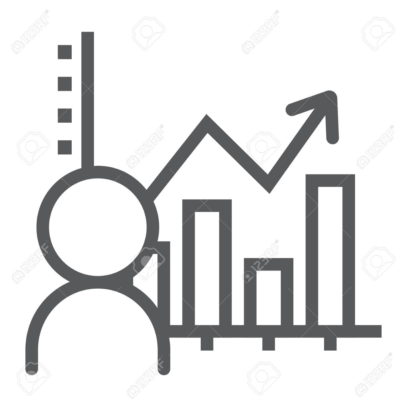 User analysis line icon, data and analytics, graph sign, vector