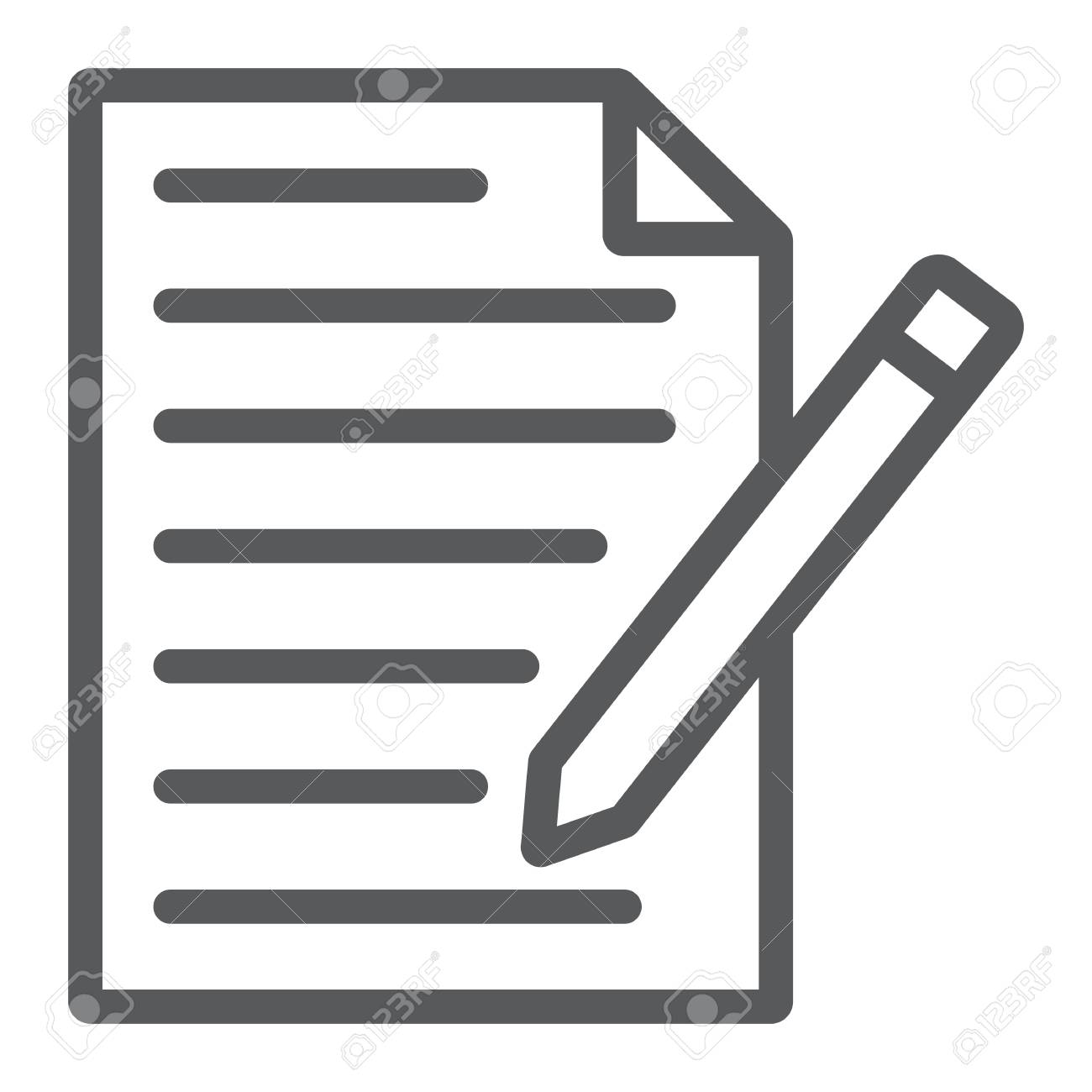 Contact form line icon, paper and pen, blank sign, vector graphics, a linear pattern on a white background, eps 10. - 114770825