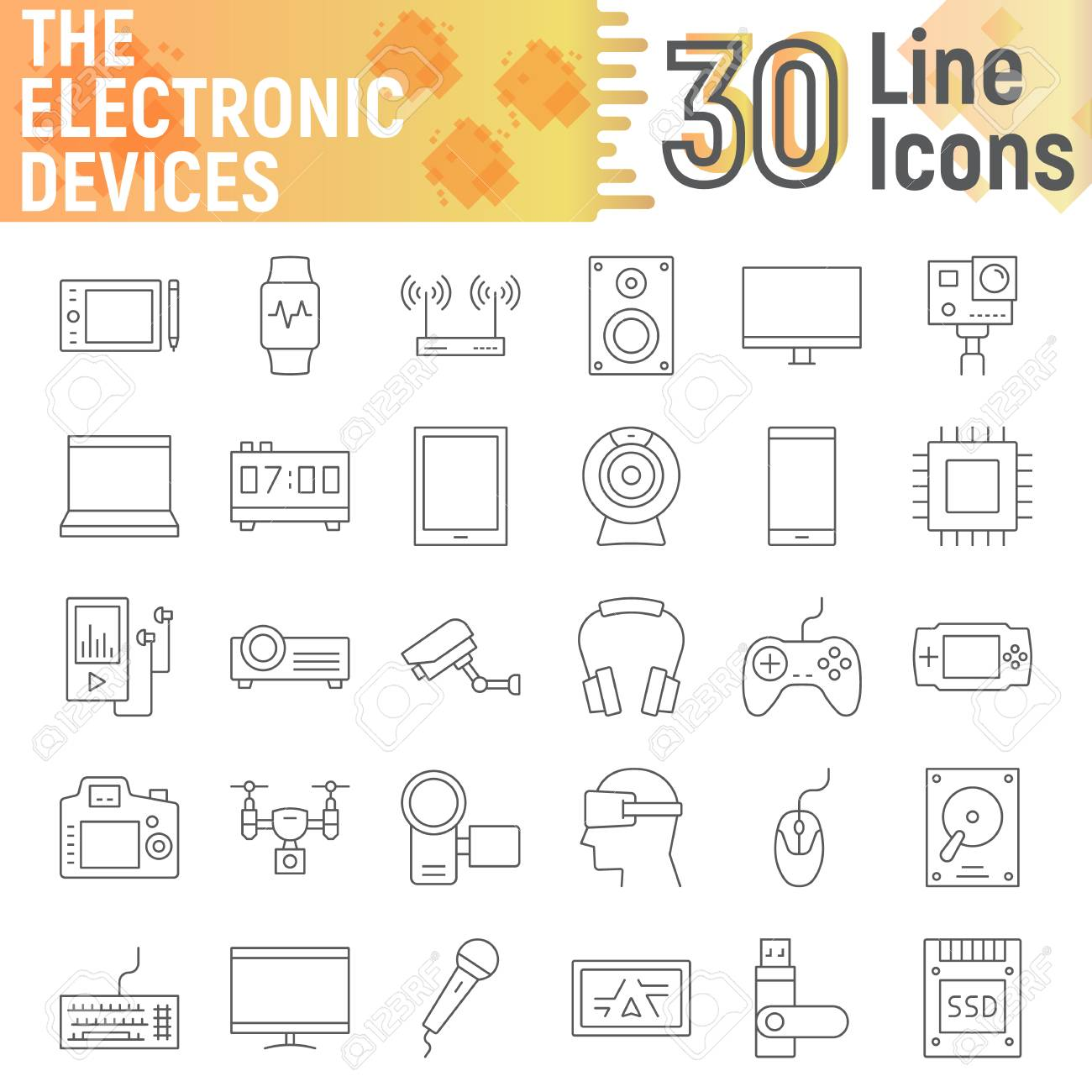 Electronic Devices Thin Line Icon Set Media Symbols Collection