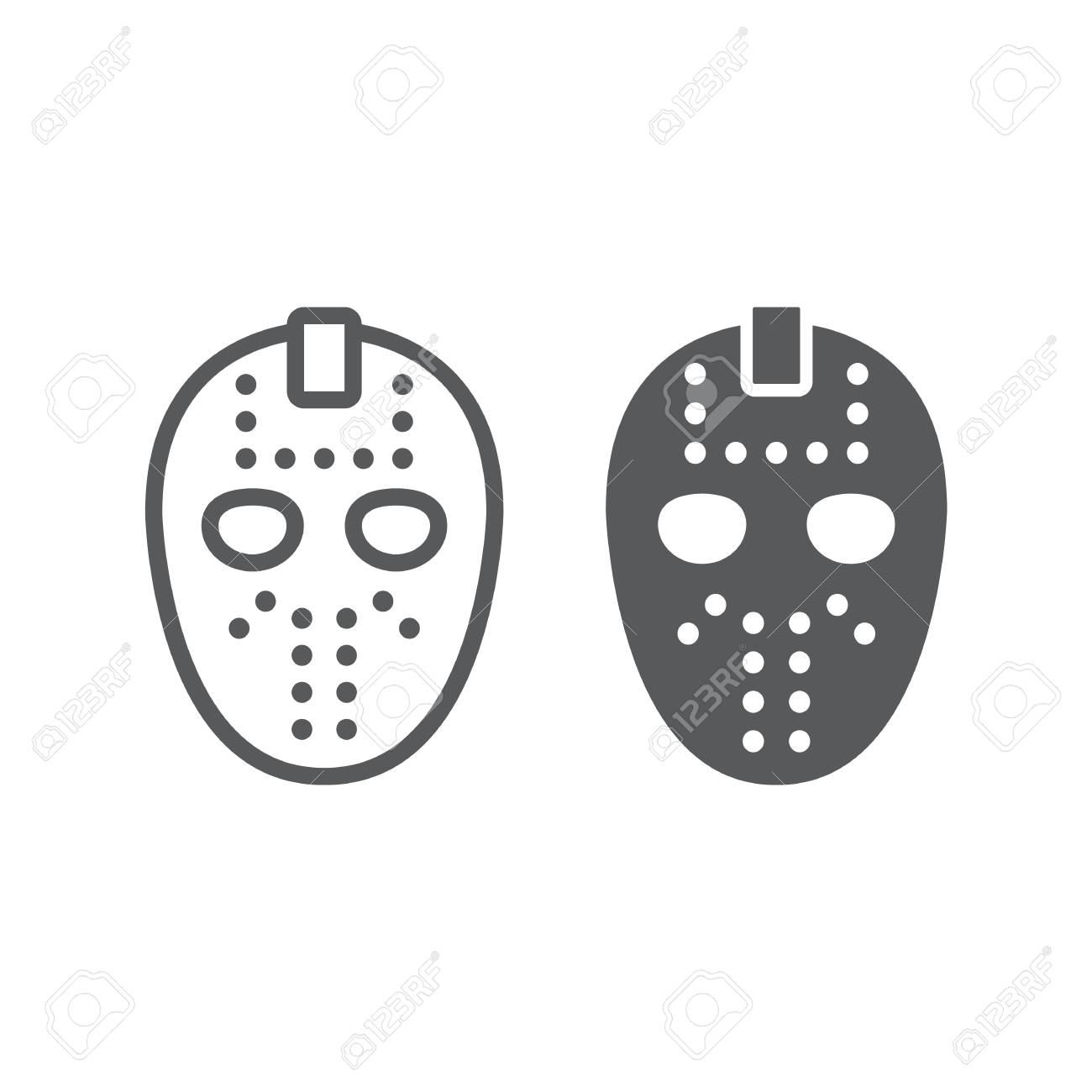 Hockey Mask Line And Glyph Icon Helmet And Mask Goalie Sign