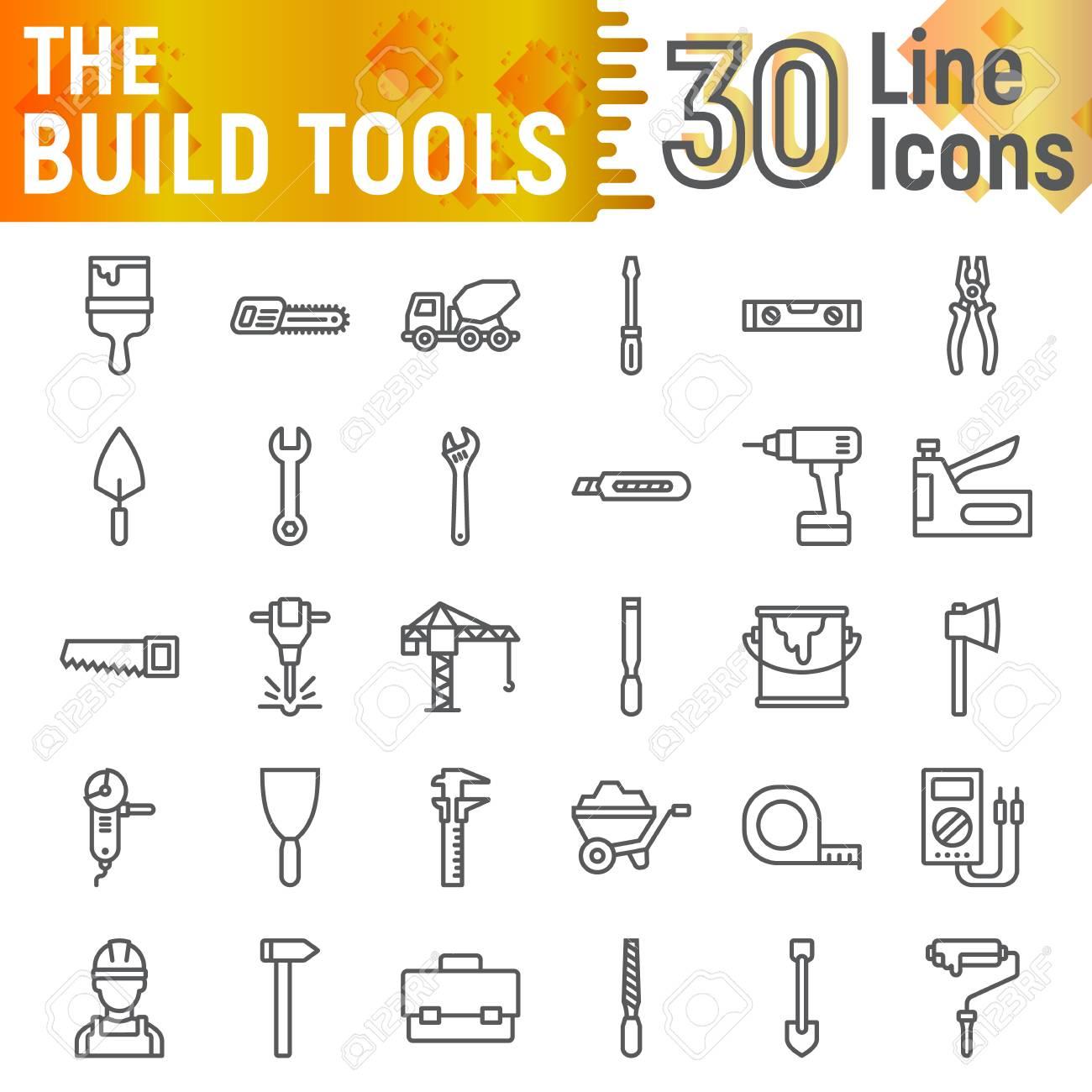 Build Tools Line Icon Set Construction Symbols Collection Vector