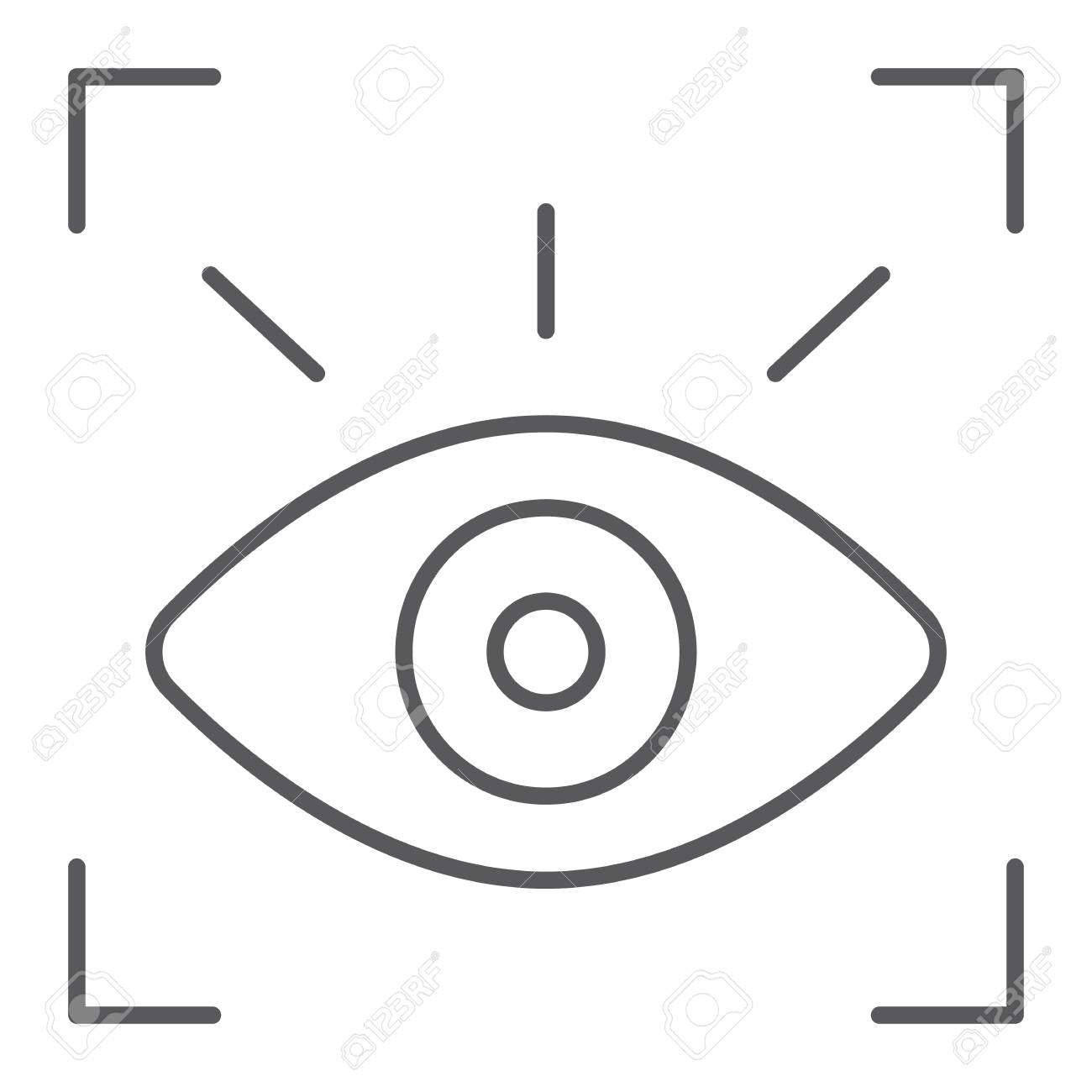 Retina scanner thin line icon, recognition and authentication,