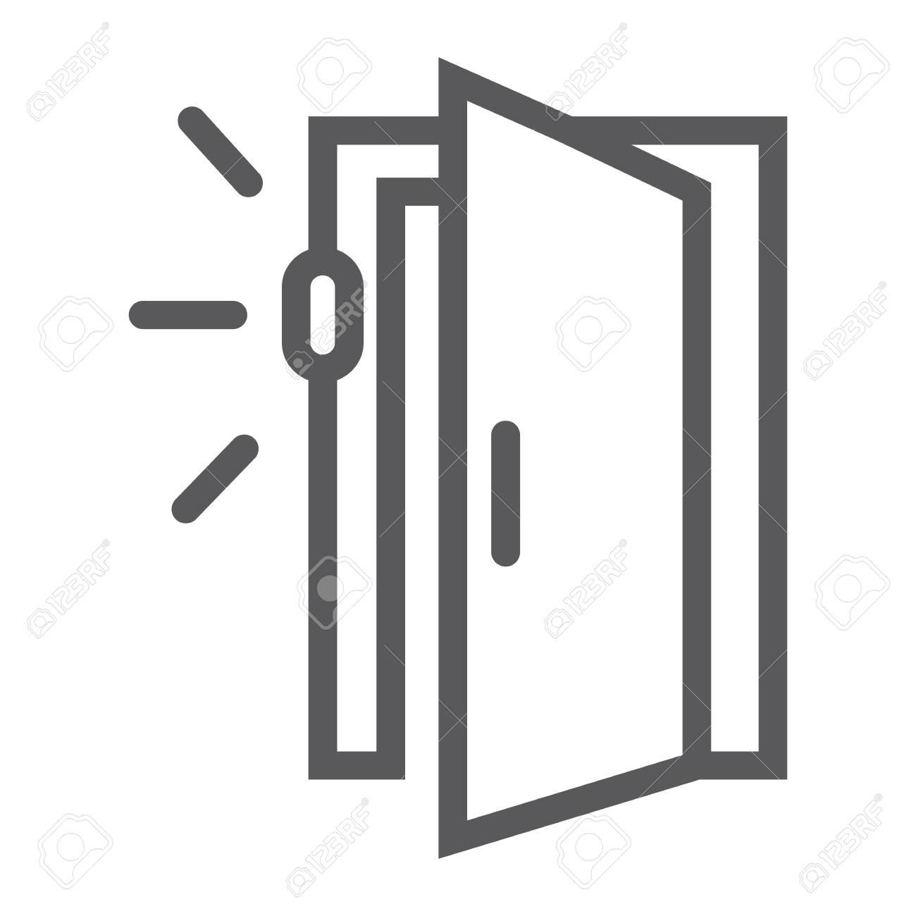 Door Sensor Line Icon Access And Security Automatic Door Sign