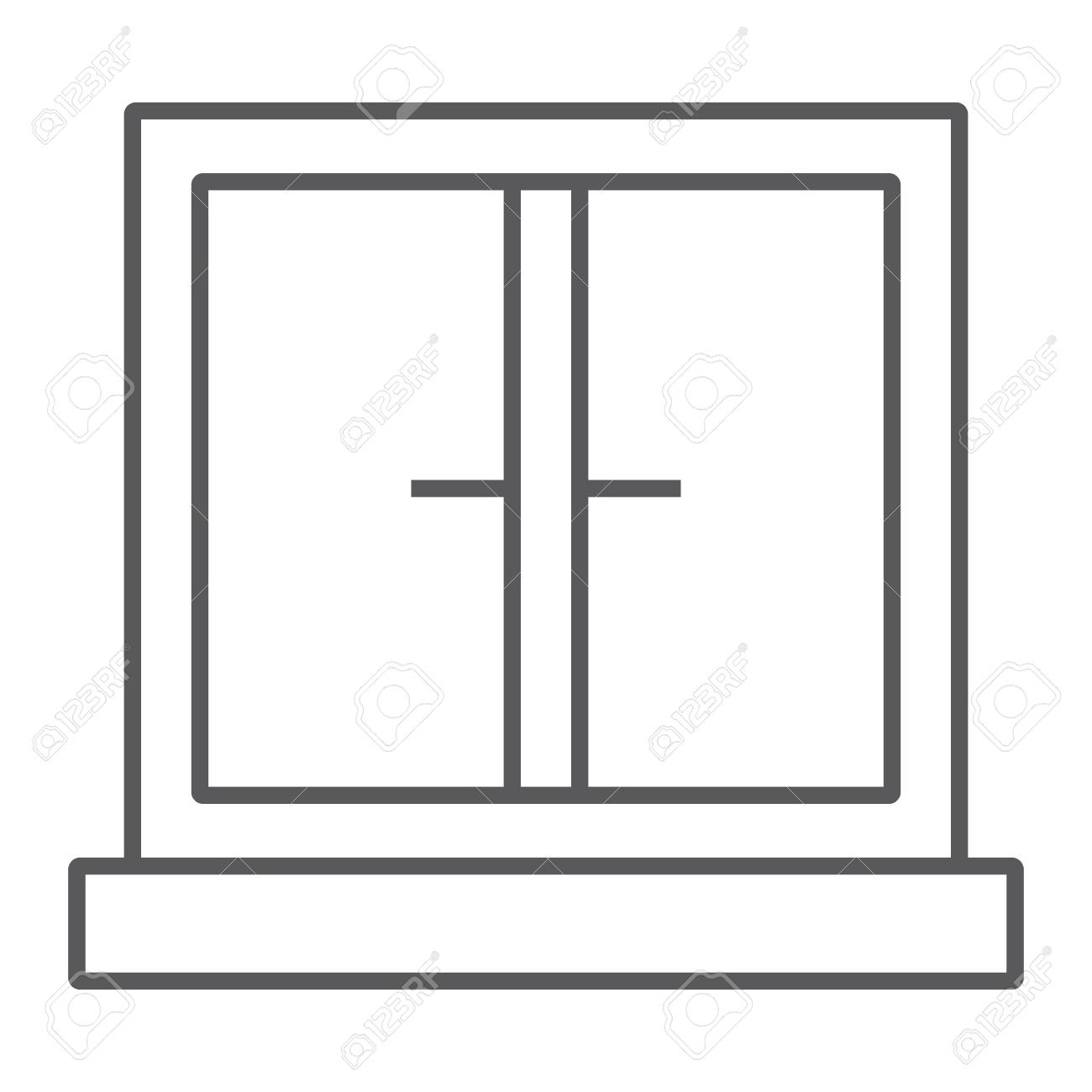 Window Thin Line Icon, Architecture And Home, Frame Sign, Vector ...
