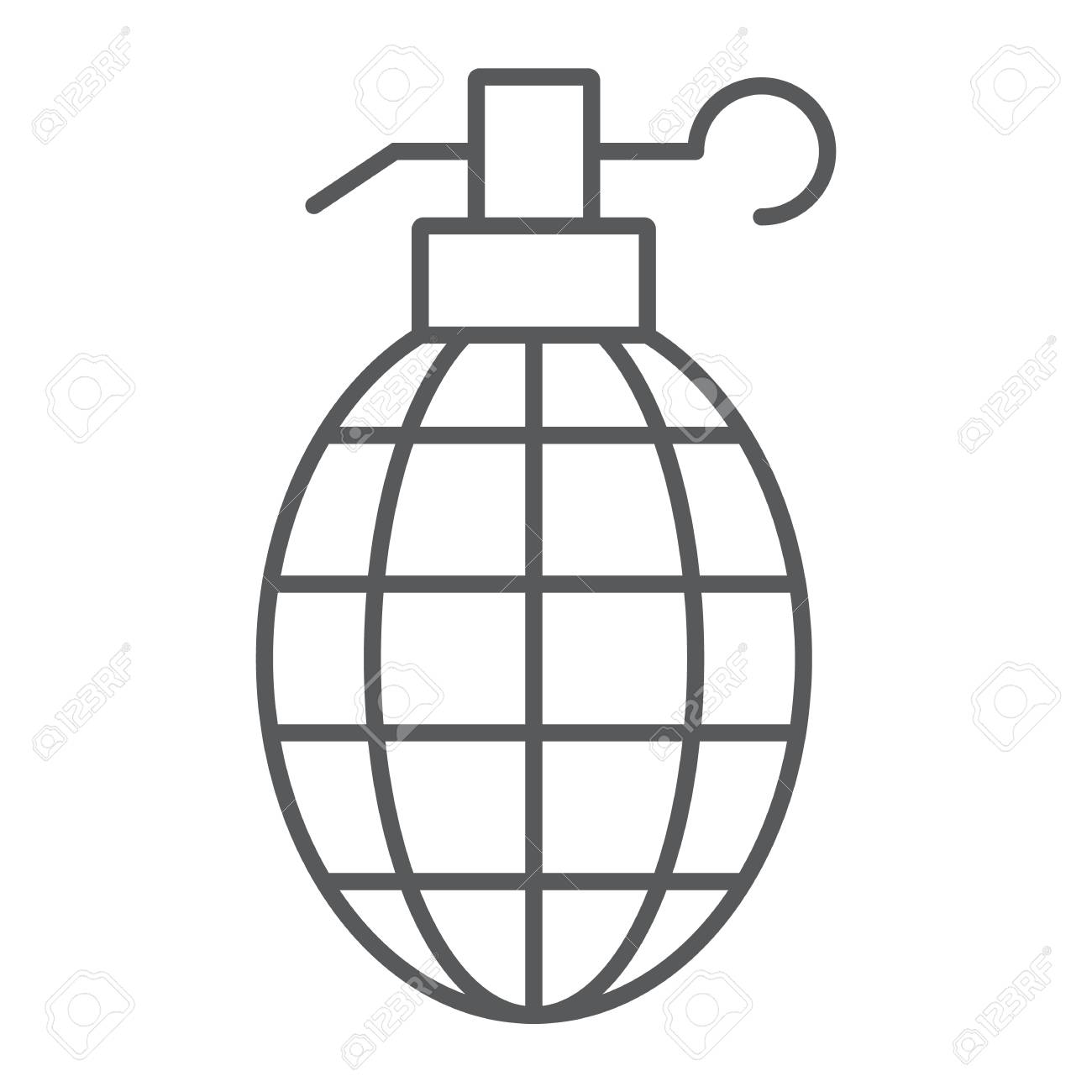 grenade thin line icon, weapon and army, bomb sign, vector graphics,..  royalty free cliparts, vectors, and stock illustration. image 115419565.  123rf