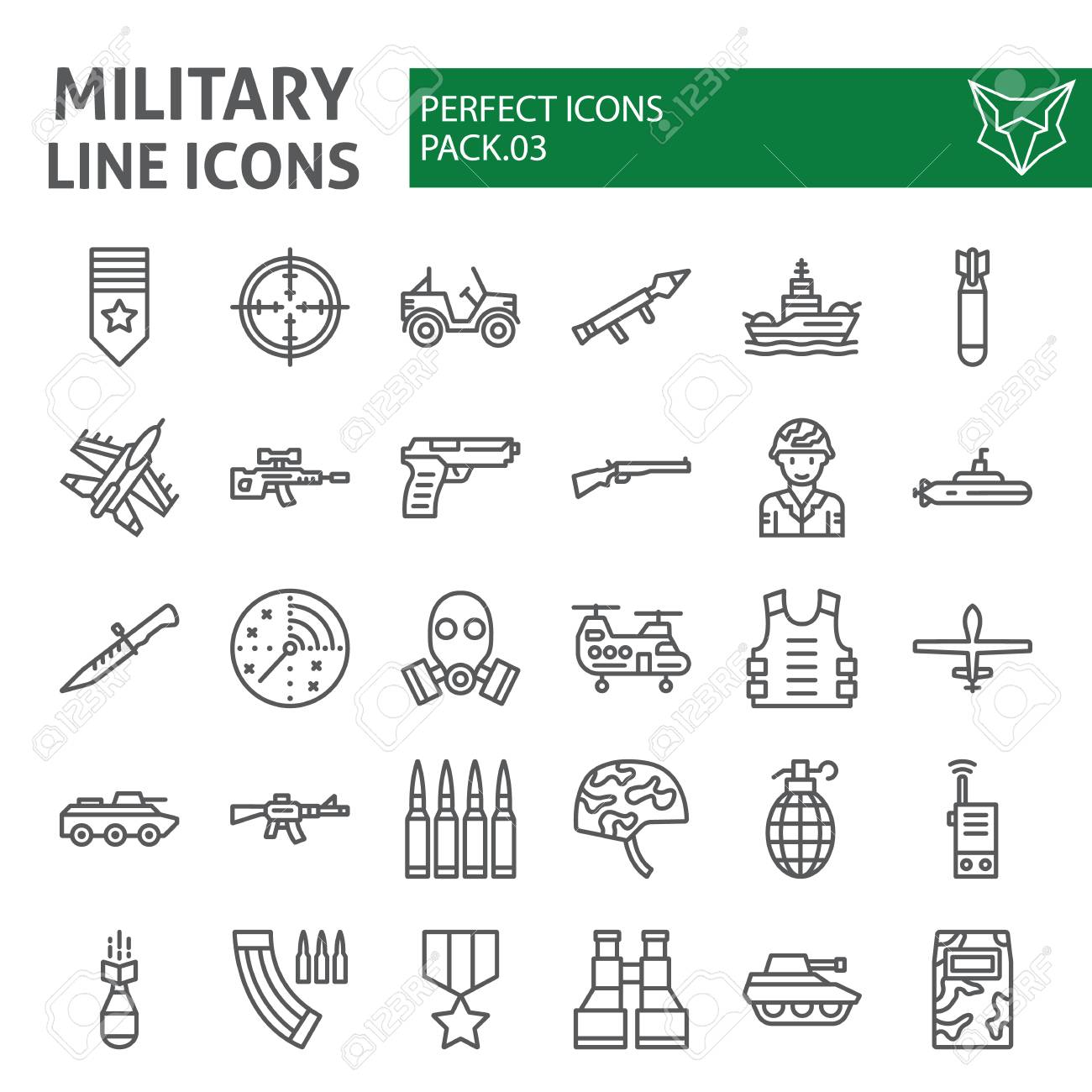 Military line icon set, army symbols collection, vector sketches, illustrations, war signs linear pictograms package isolated on white background. - 115419624