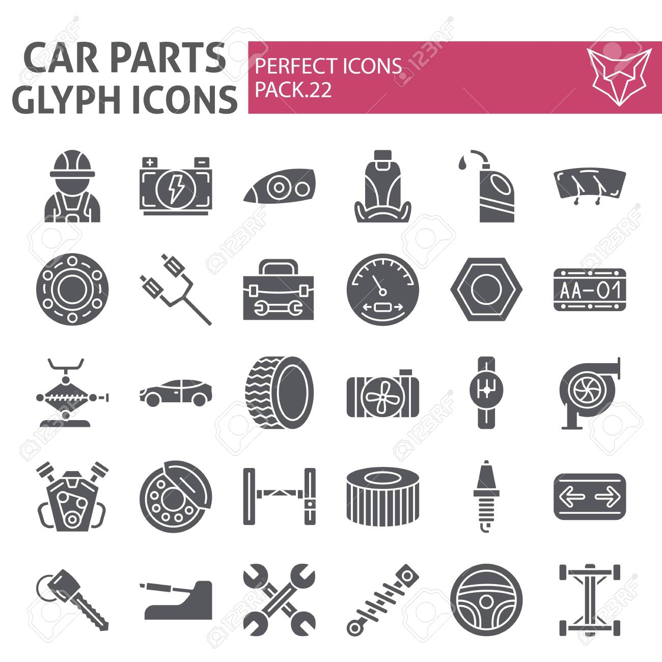 Car parts glyph icon set, automobile symbols collection, vector sketches, logo illustrations, auto repair signs solid pictograms package isolated on white background. - 121210479