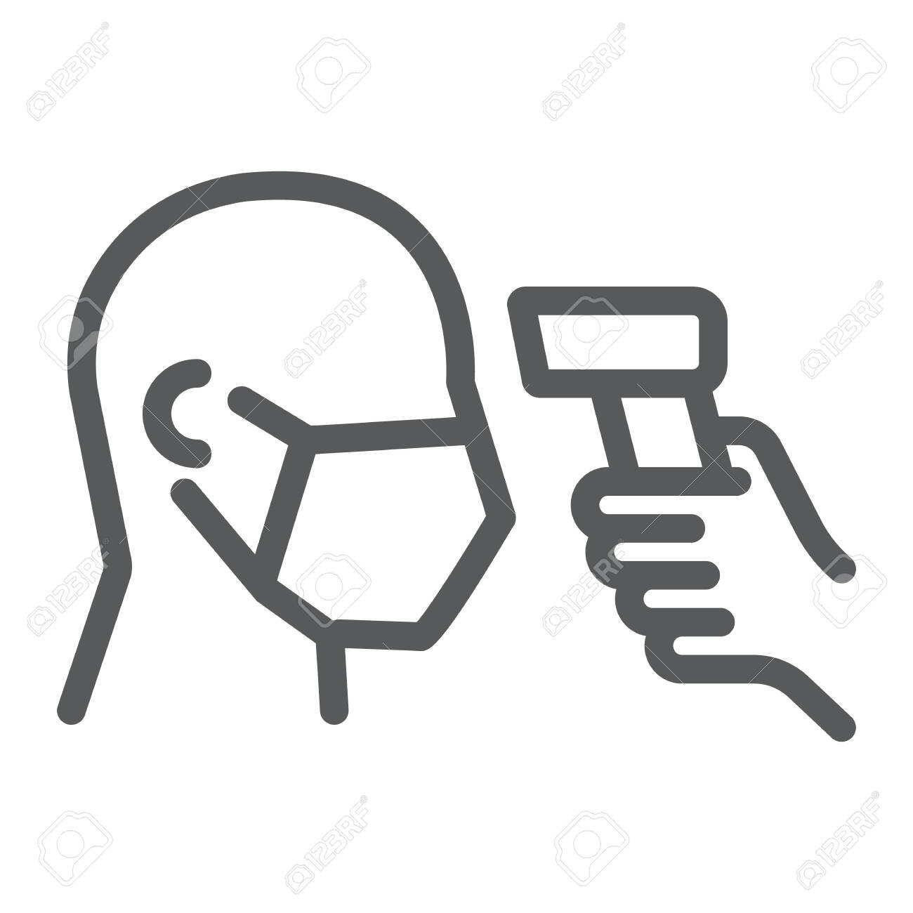 Checking Body Temperature Line Icon Coronavirus And Covid 19 Royalty Free Cliparts Vectors And Stock Illustration Image 143216763