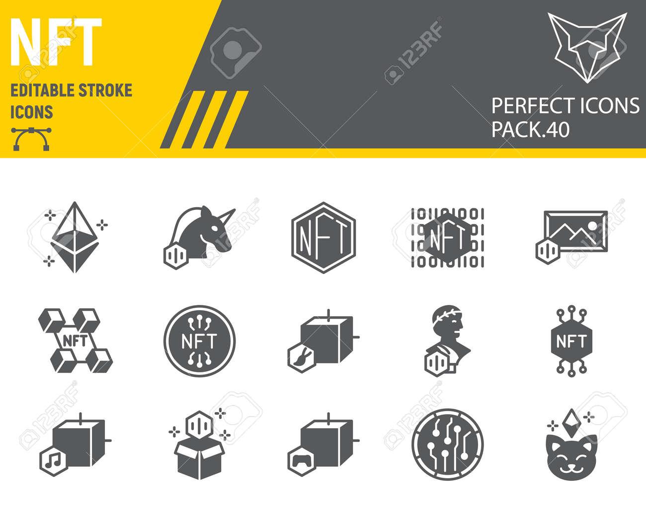NFT glyph icon set - 167686834