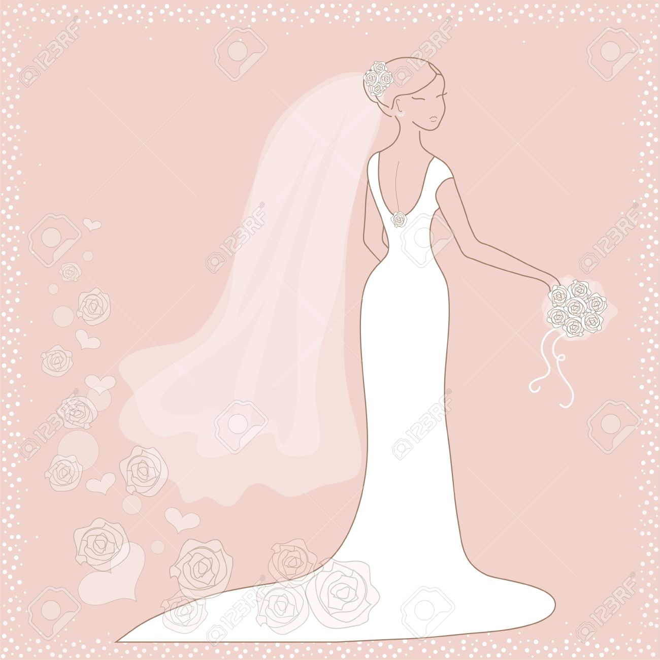 beautiful wedding card with bride on pink background stock vector 11450318