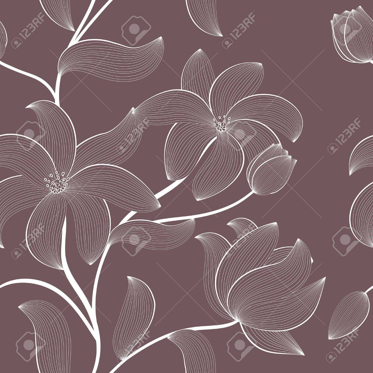 floral seamless pattern with hand-drawn flowers Stock Vector - 13009060
