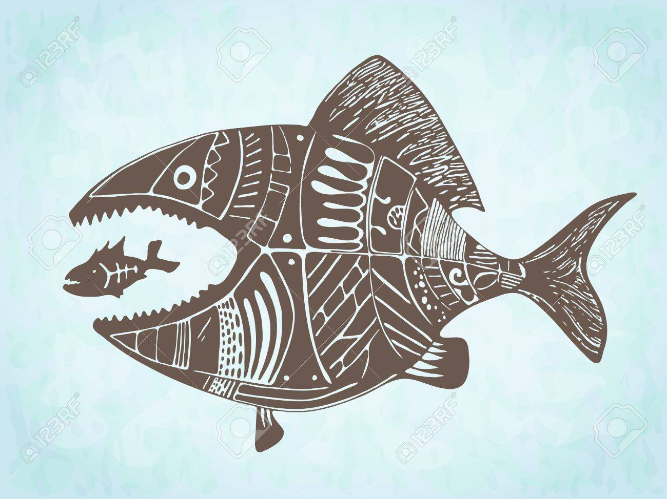 Fish Eating Fish Tattoo Vector Hand Drawn Fish Eating