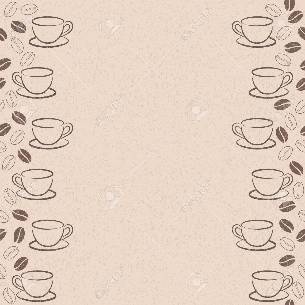frame with coffee beans and cups Stock Vector - 14154494