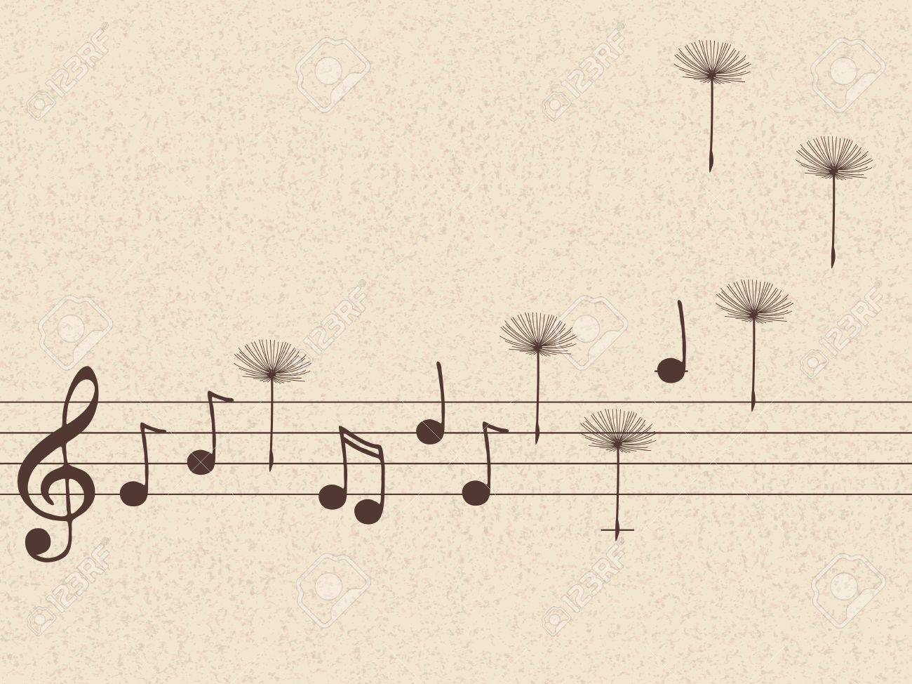 Vector illustration of music notes with dandelion seeds Stock Vector - 14416475