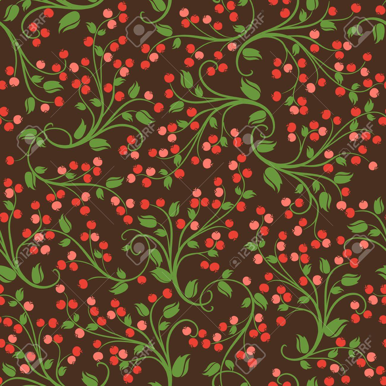 Seamless floral pattern of wild berries Stock Vector - 16244008