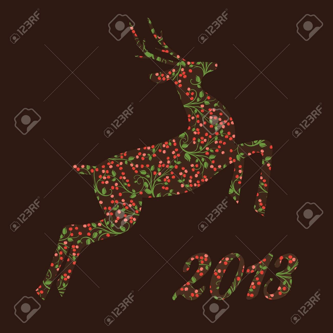 Christmas  ornamental reindeer of beautiful berries Stock Vector - 16413044