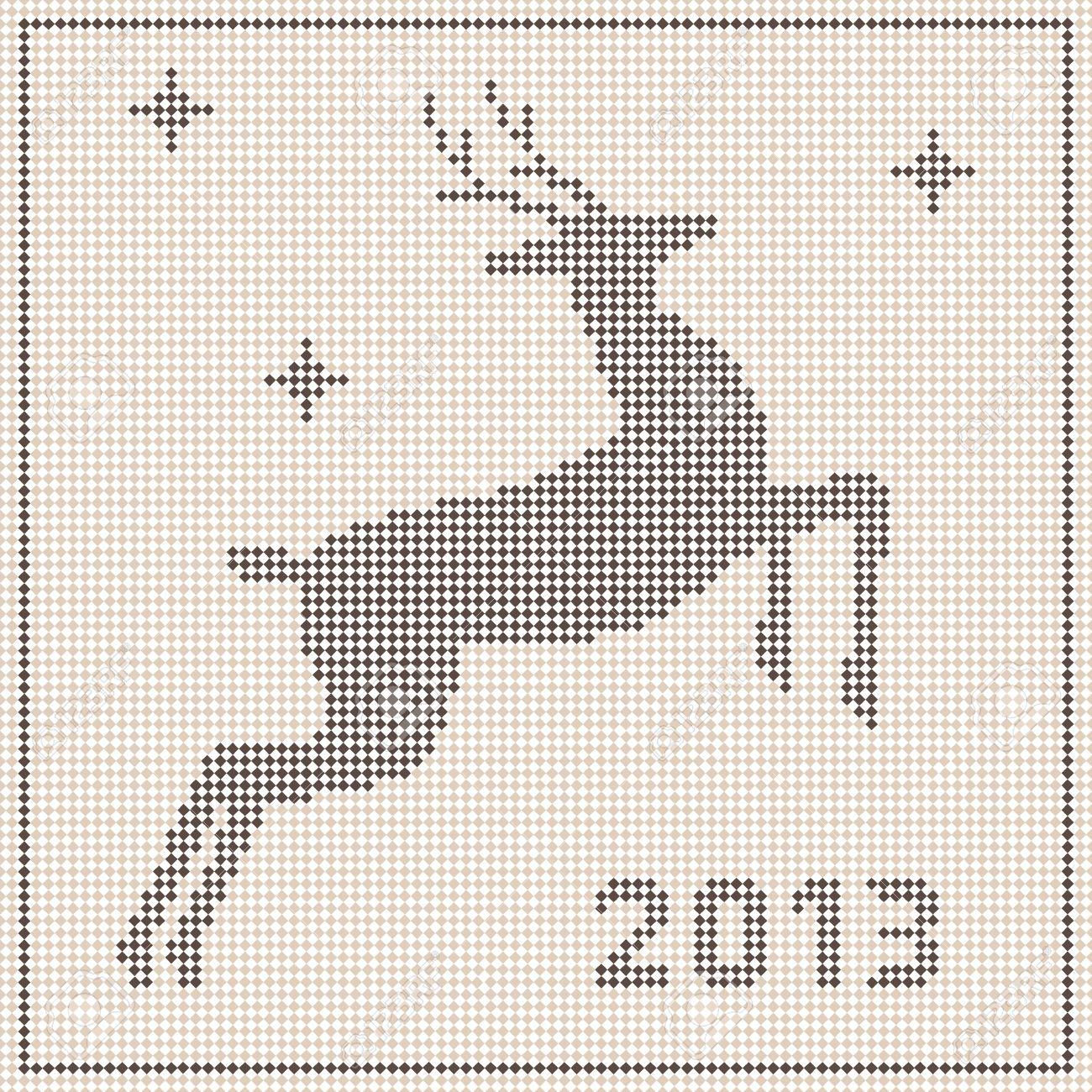 Tradicionales De Navidad Patrón De Bordado Con Un Ciervo ...