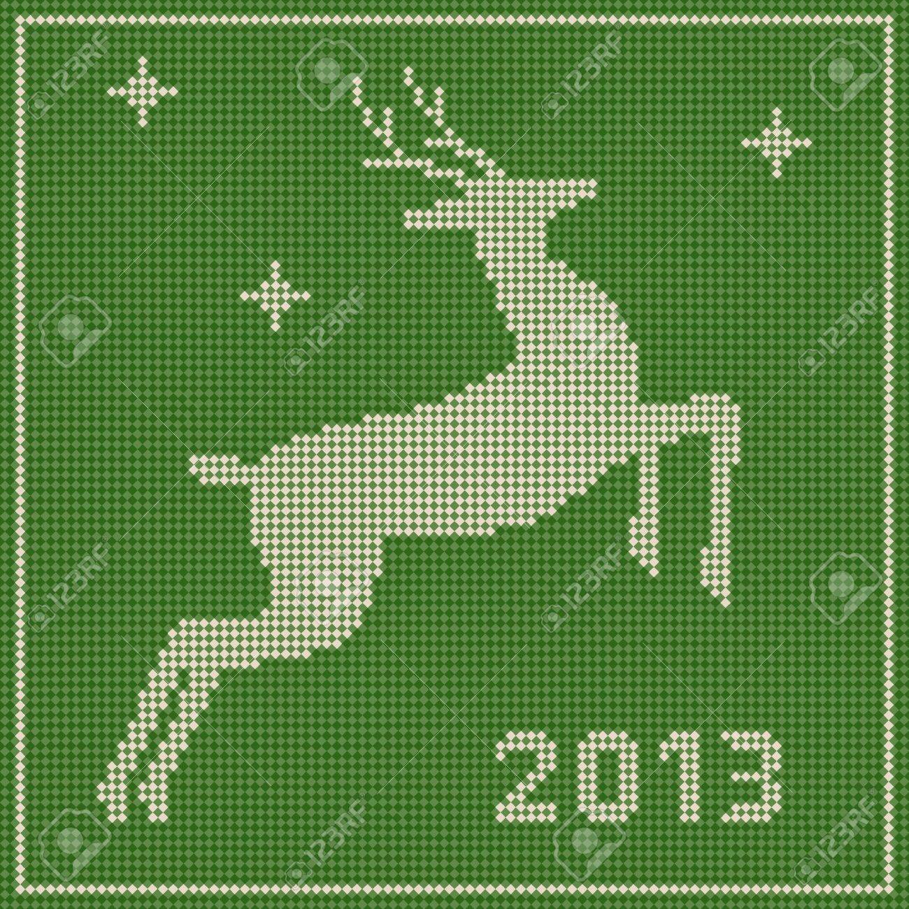 Christmas Embroidery Patterns Free.Traditional Christmas Embroidery Pattern With A Deer