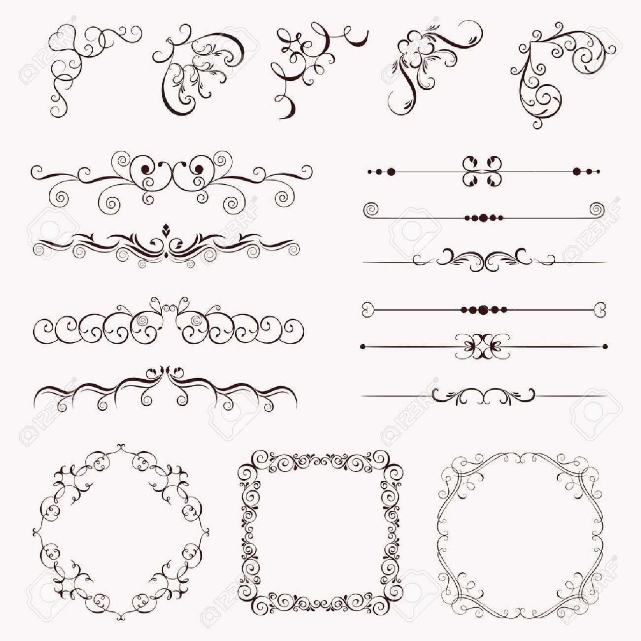 Elementos Vintage Conjunto De Adorno Marcos Bordes Esquina Para El Diseño Puede Utilizar Para Tarjeta De Cumpleaños Invitaciones De Boda