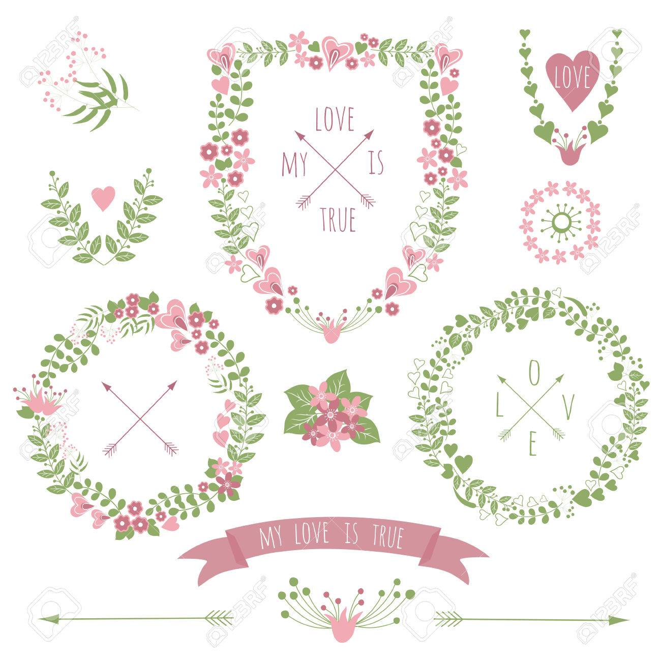 Collection Of Floral Retro Frames For Wedding Invitations And