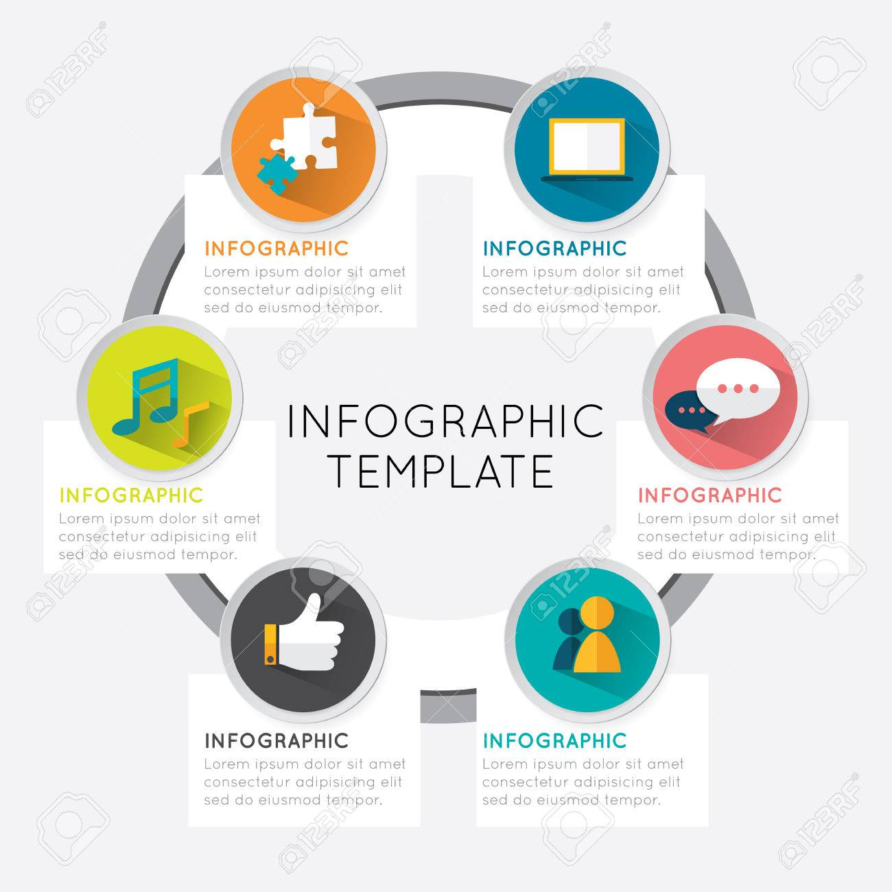 Modern Infographic Template Circle Style Options Five Banner ...