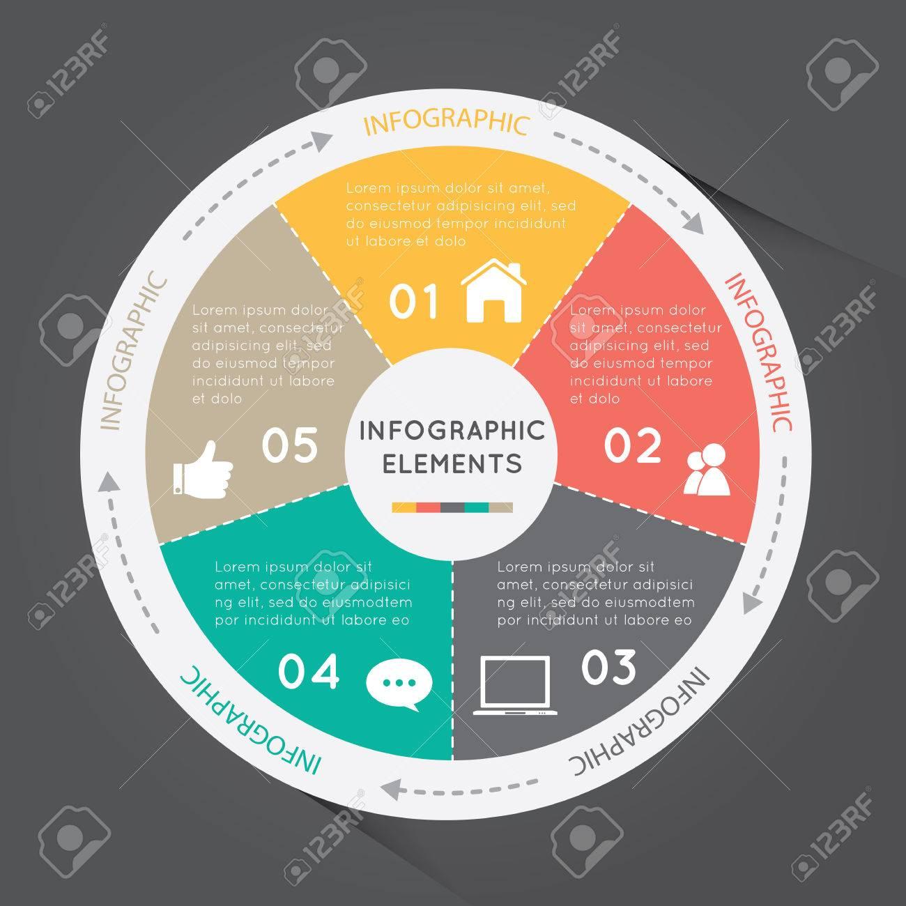 Circular chart infographic elements circle chart with arrows circular chart infographic elements circle chart with arrows around it on grey background stock ccuart Choice Image
