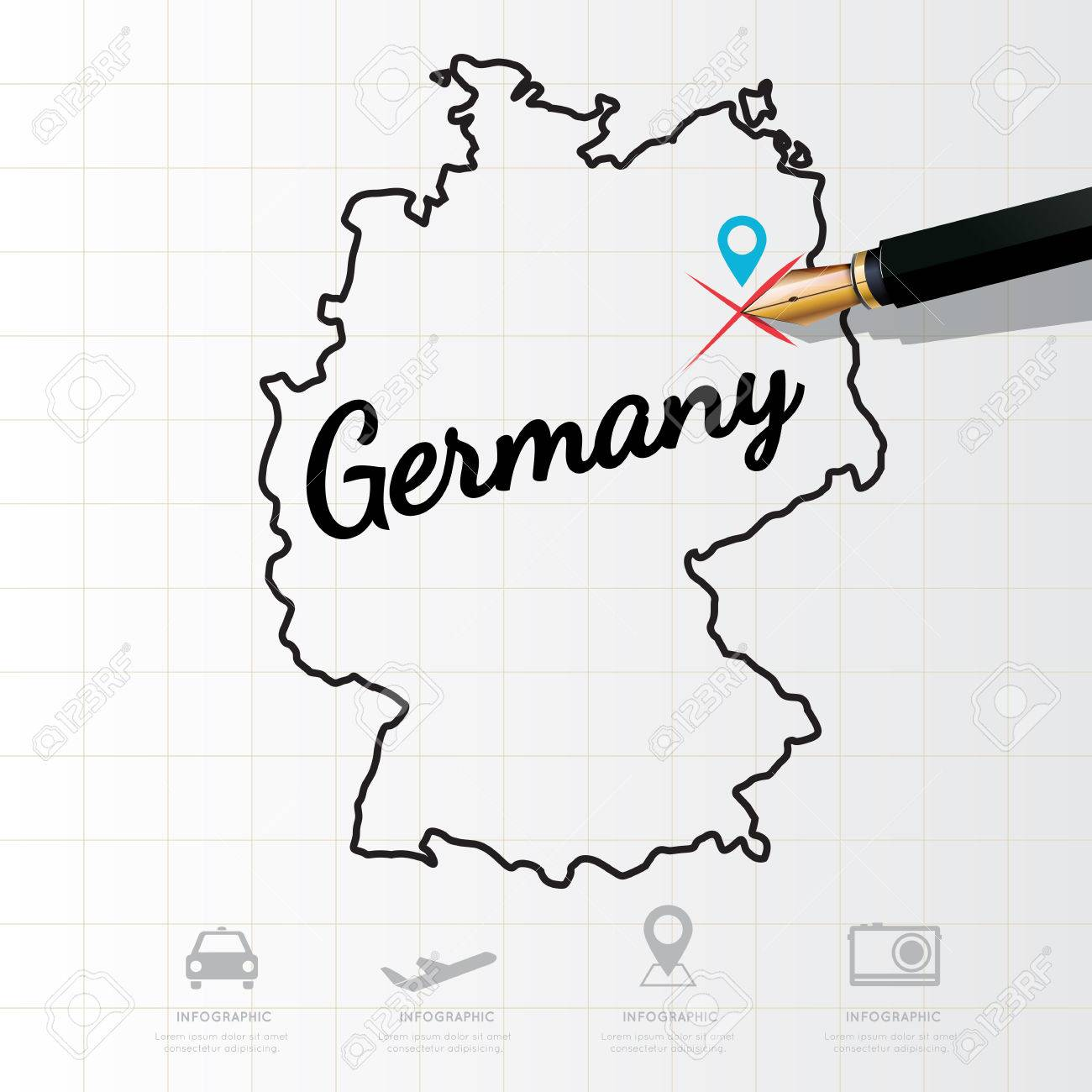 Germany map Infographic - 53792941