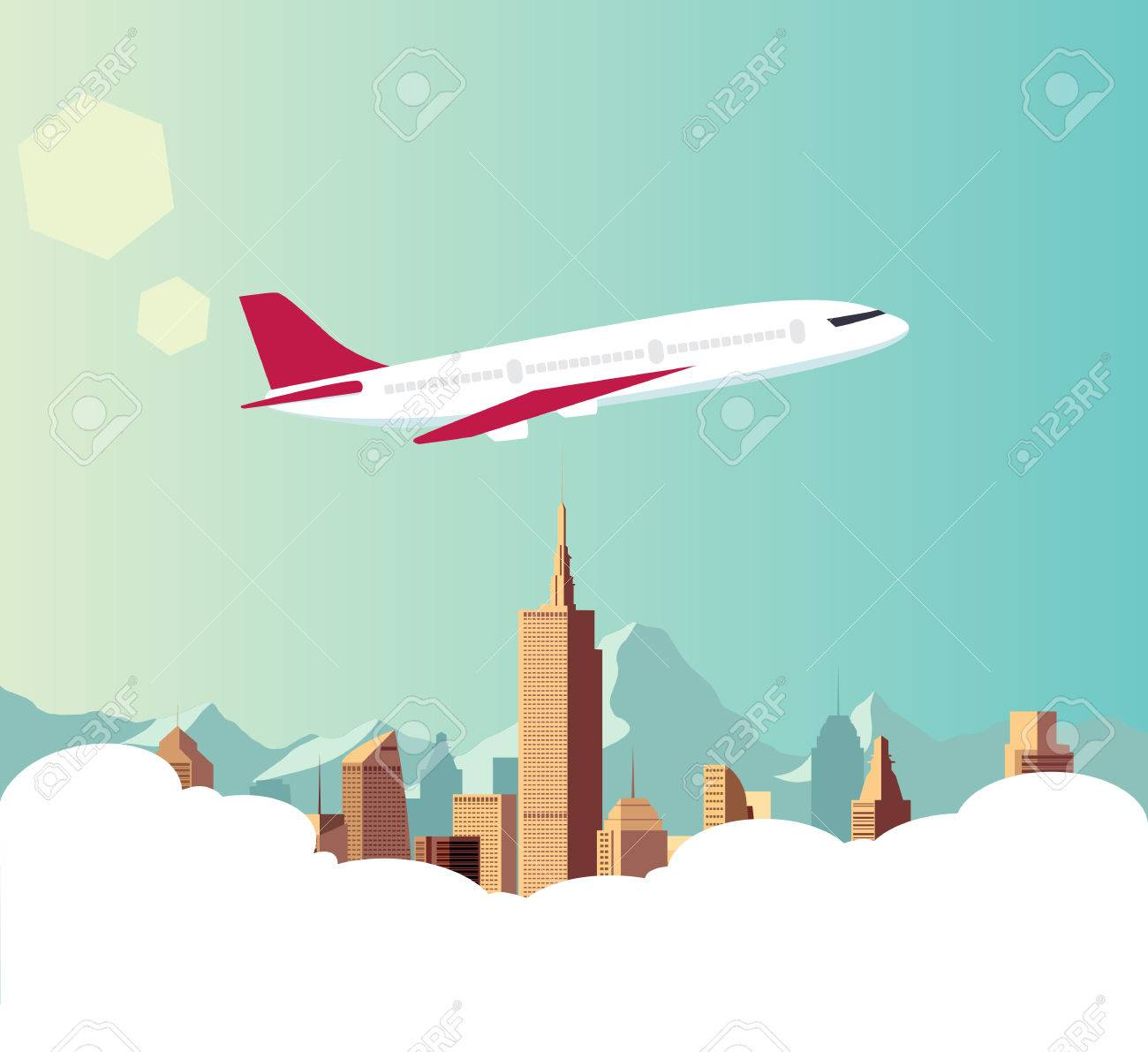 airplane illustrator with city background royalty free cliparts, vectors,  and stock illustration. image 54910778.  123rf