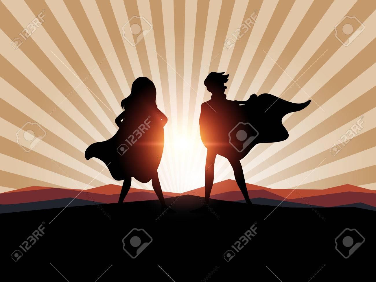 Silhouette man and women superhero with sunlight. - 69260080