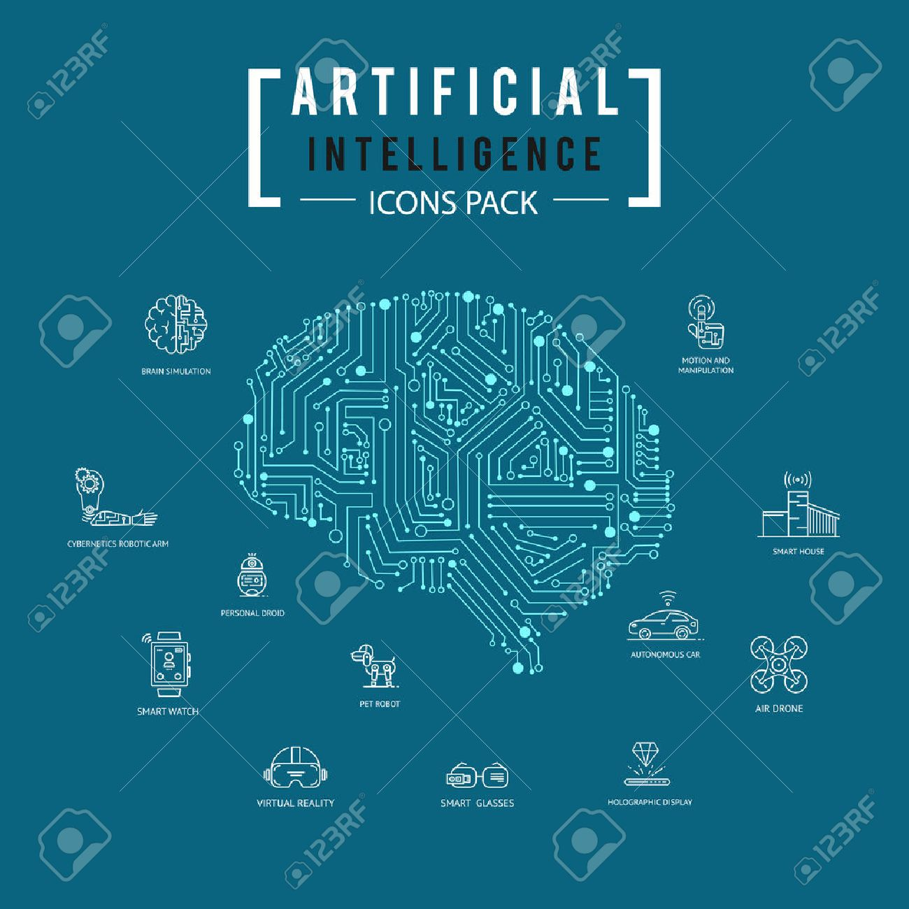 73709 Intelligent Stock Vector Illustration And Royalty Free Circuit Board Binary Code Clipart Transmission Of Brain Artificial Intelligence Icon Pack
