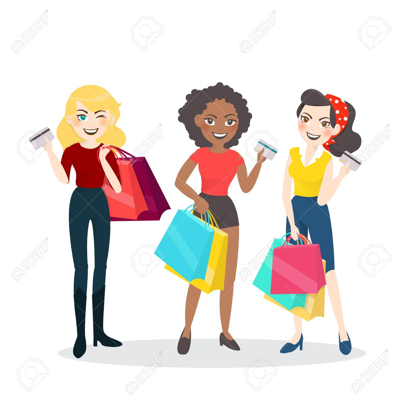 221a38da3f Cartoon woman group with shopping bag and credit card. Stock Vector -  73797978