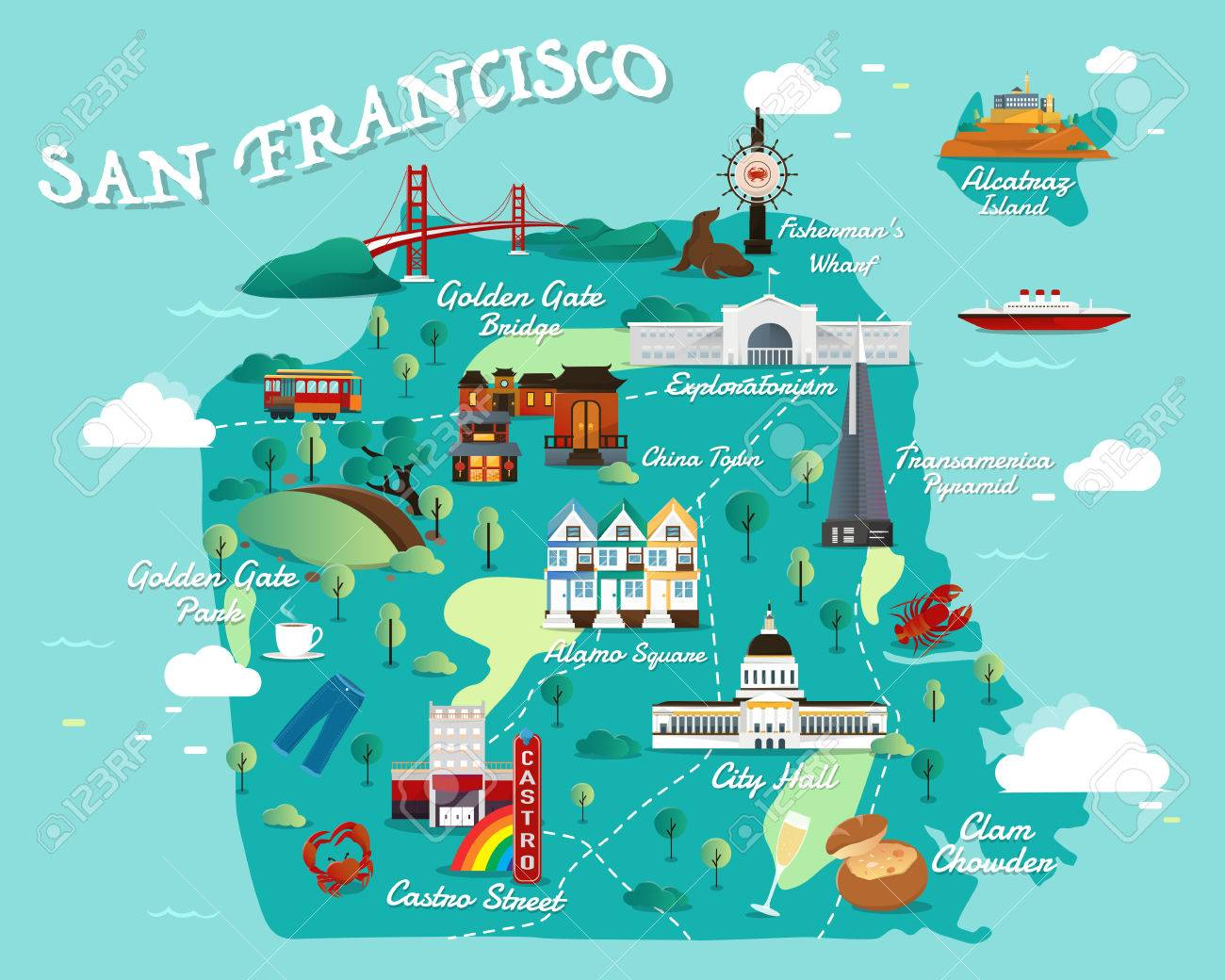 Map Of San Francisco Attractions Vector And Illustration Royalty