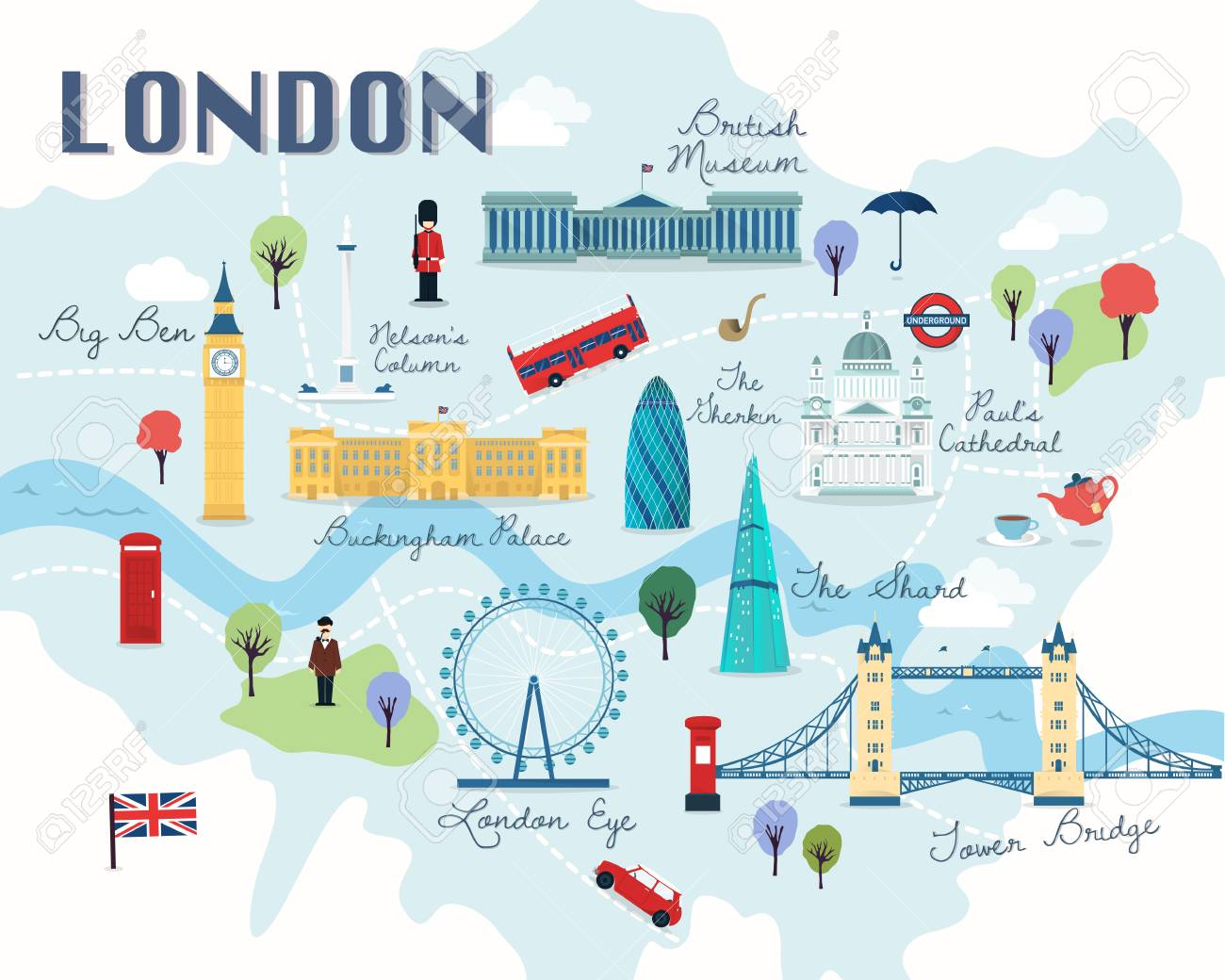 London Tourist Information Map.Map Of London Attractions Vector And Illustration