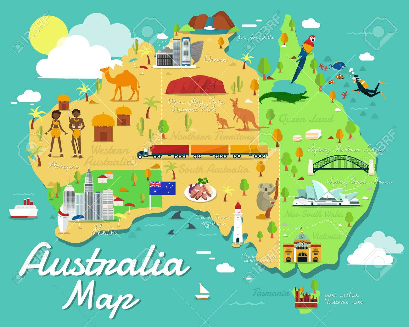 Images Of Australia Map.Australia Map With Colorful Landmarks Illustration Design