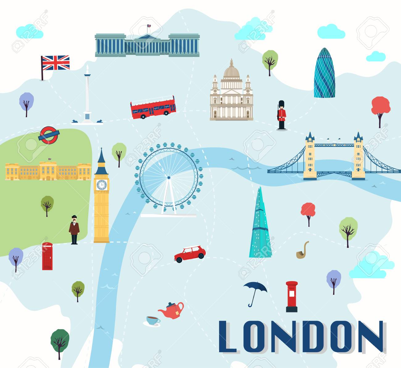 London Map Attractions.Map Of London Attractions Vector And Illustration