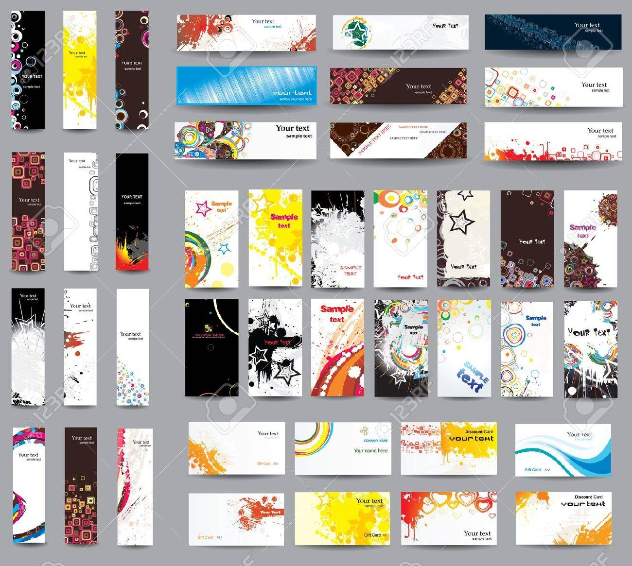 Mix Collection Banners And Business Cards Royalty Free Cliparts ...