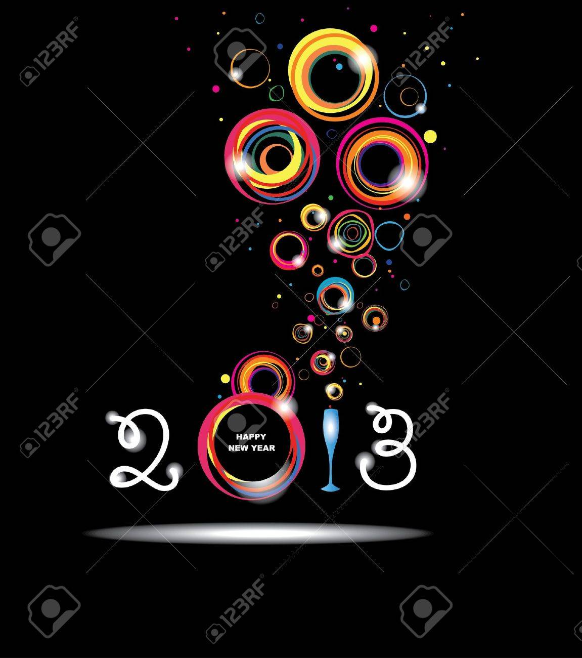 New year 2013 in black background  Abstract poster Stock Vector - 16465427