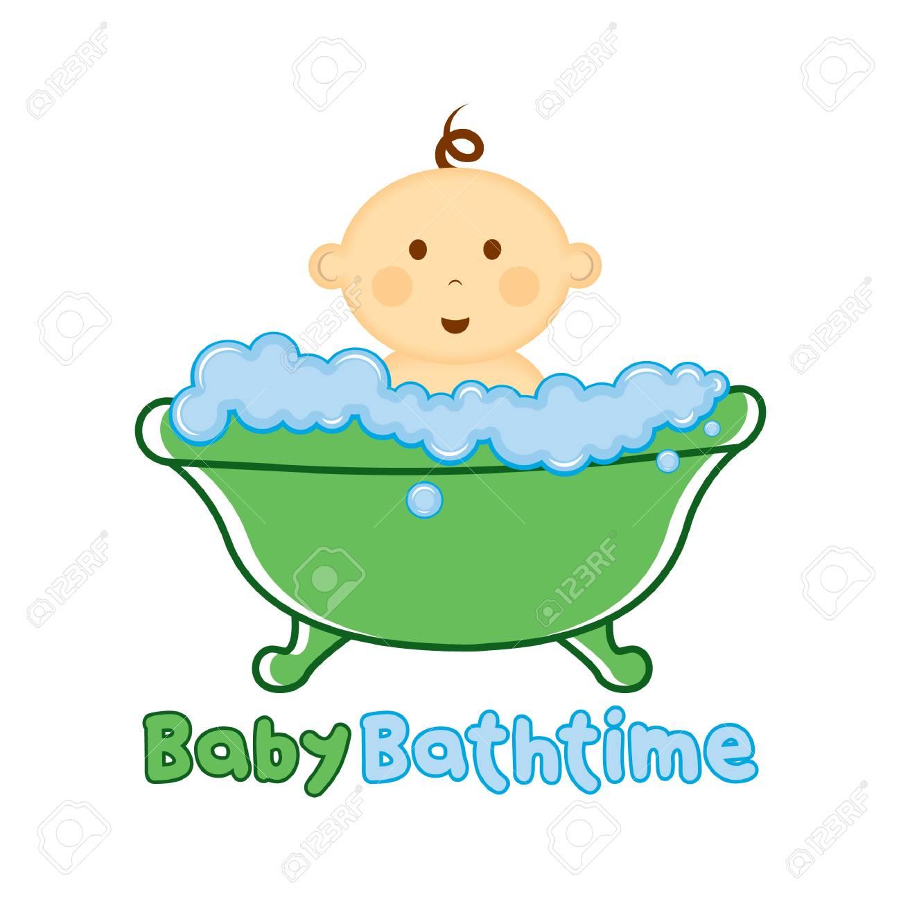 Baby Bath Time Logo Template Baby Bathing Vector Illustration