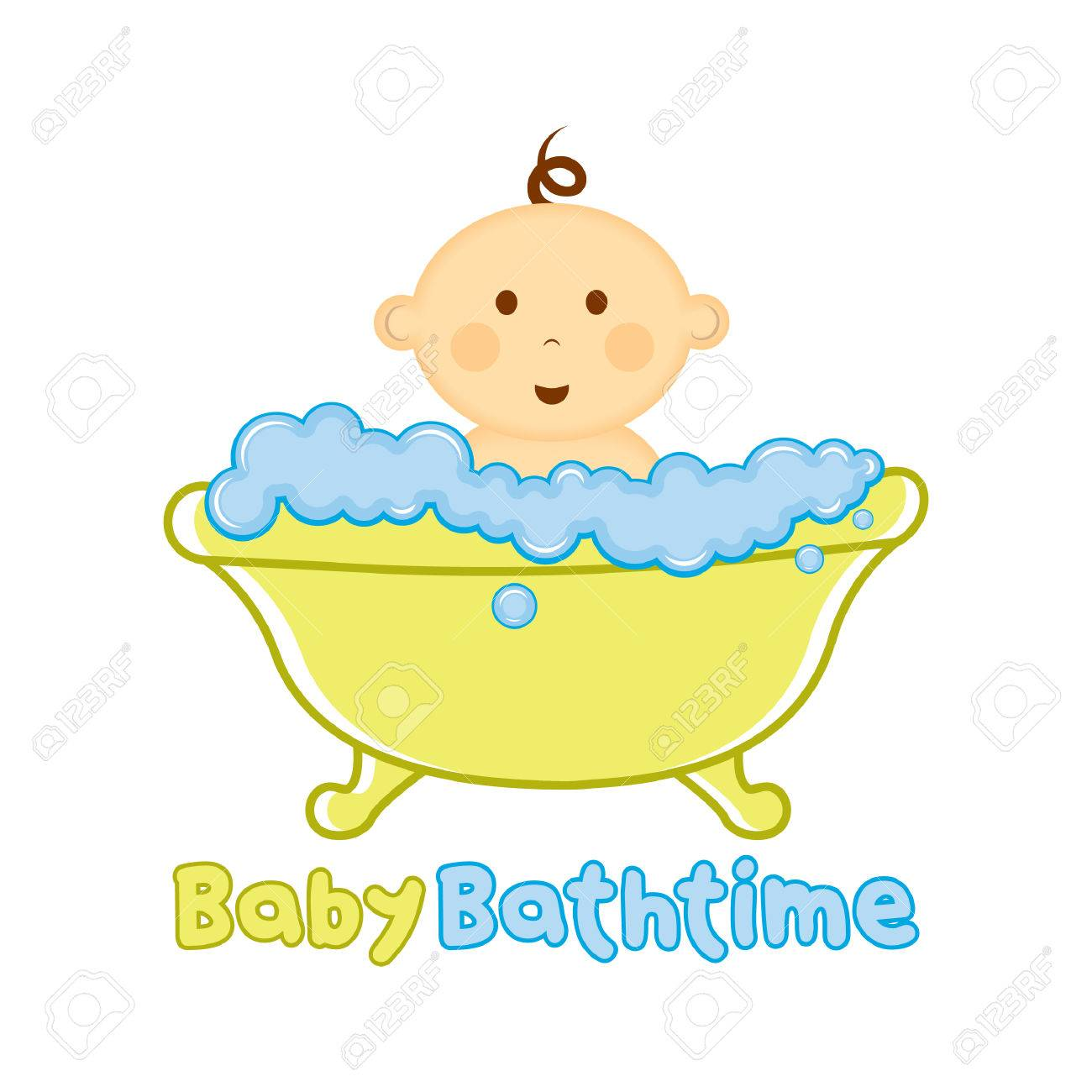 Baby Bath Time Template, Baby Bathing Vector Illustration, Baby ...
